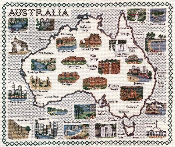 Australian Maps On Counted Cross Stitch  Classic