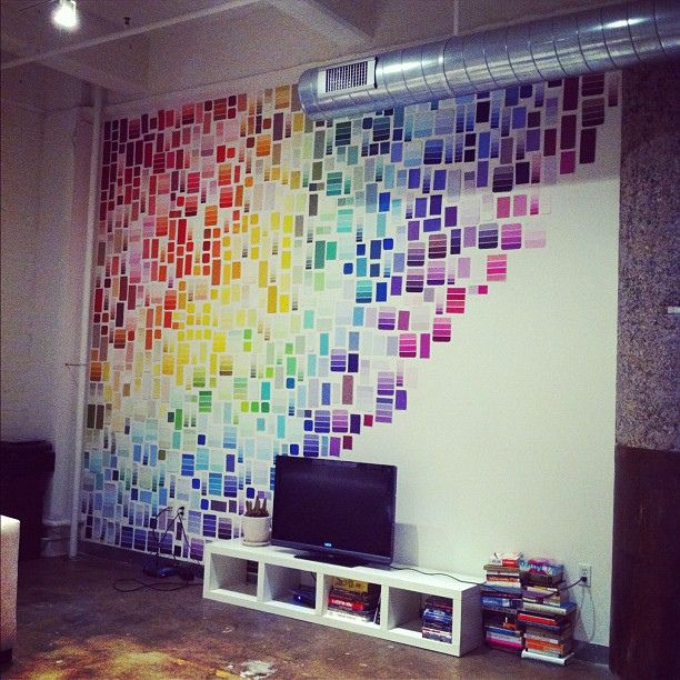 paint chip wall by knohe, via Flickr Would look cute in the girls' bedrooms.  They grab a bunch of paint chips every time we go to the paint store.