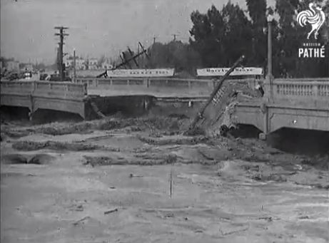 "North Hollywood bridge collapses into the Los Angeles River during the massive 1938 Los Angeles flood. It was after the '38 flood that the U.S Army Engineers set about controlling the L.A. River. Out-of-towners and Angelenos who have no concept of local history who snicker about L.A. not having a ""real"" river have no idea of its history..."