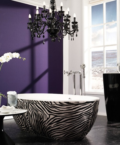 It's really modern which I usually don't like but it's so classy. I would chose other colors but the view, tub and chandelier is gorgeous! Love that purple, but I would pick something more soothing