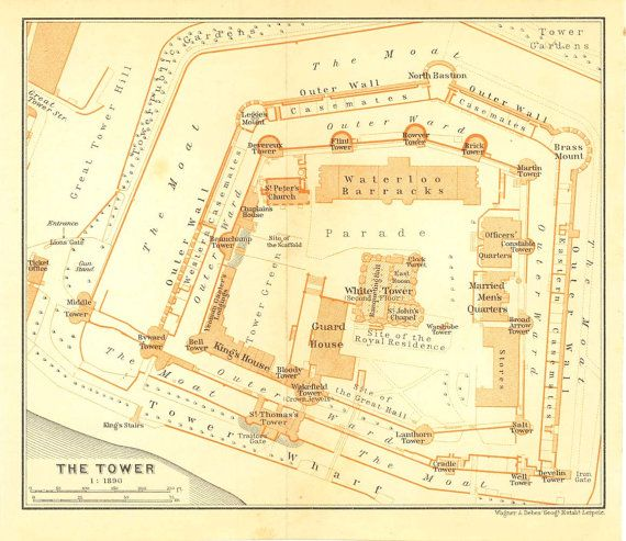 1907 Tower Of London Floor Plan Original Antique Print
