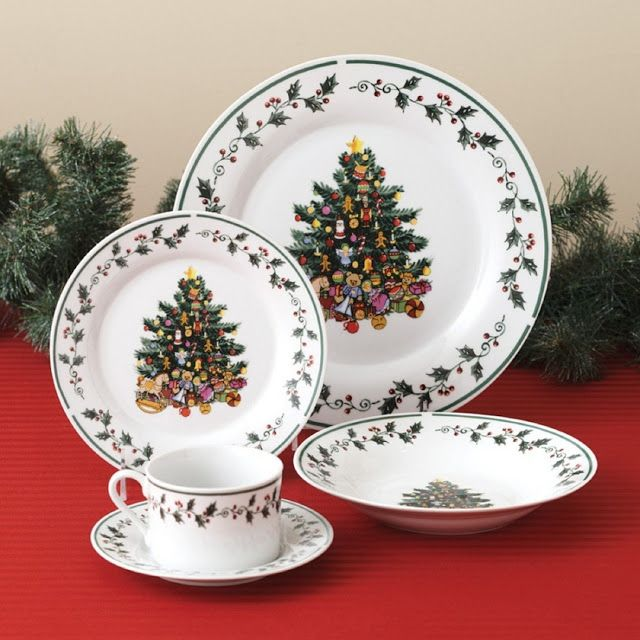 This dinnerware set is made from fine ceramic and is dishwasher and microwave safe.  This 20-piece set comes with 4 dinner plates, 4 dessert plates, 4 bowls, 4 saucers and cups.  This Christmas dinnerware set is elegant and will make your table this holiday season look very festive.