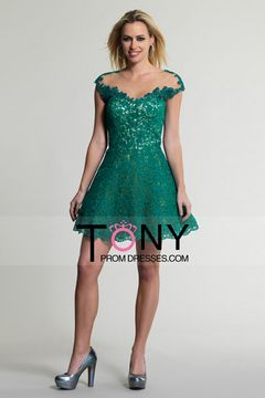 2015 Scoop A Line Cocktail Dresses With Applique Lace Backless $159.99 TPPSJX2N7D - TonyPromDresses.com