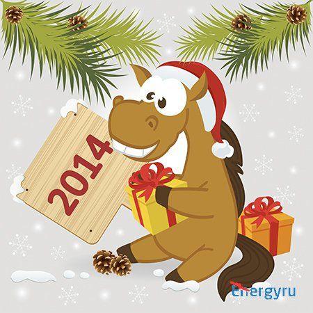 Смешные новогодние лошади - Векторный клипарт