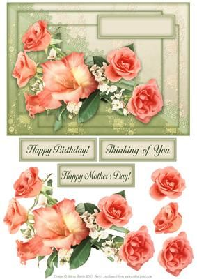 Roses and Lace Decoupage Card on Craftsuprint designed by Julene Harris - Beautiful peach roses are displayed on top of a cream and sage two-tone background. This gorgeous decoupage card will suit multiple occasions. Three labels are included: Happy Birthday, Thinking of You, and Happy Mother's Day. Please click on my name to view more of my designs. - Now available for download!
