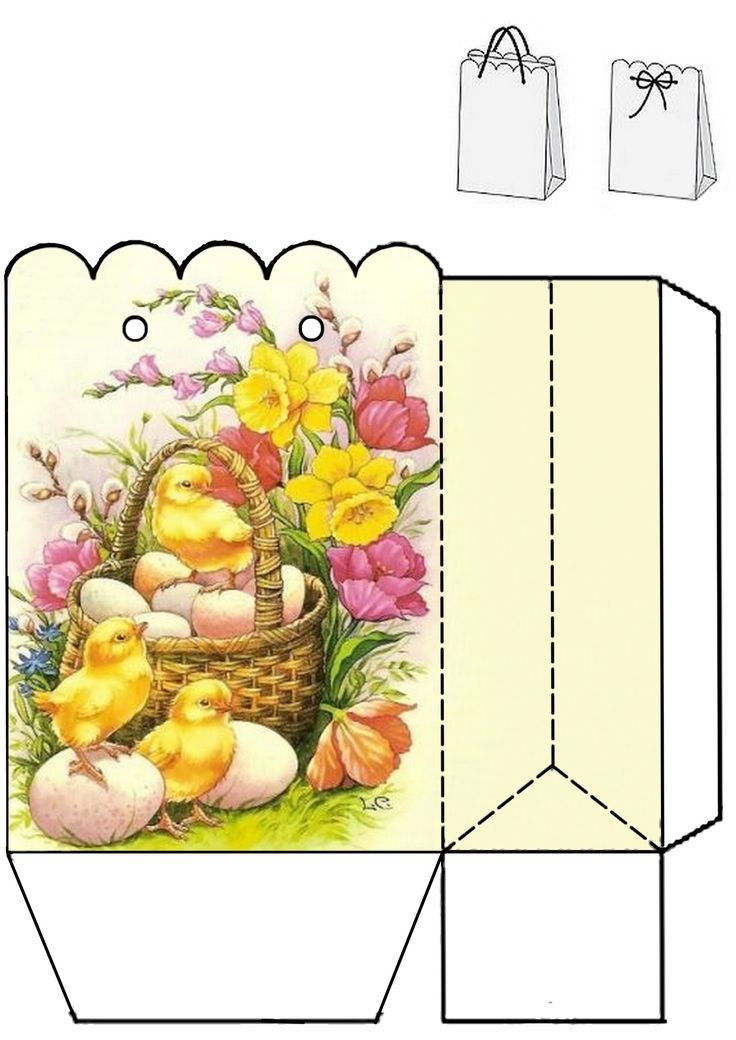 Easter gift bag. Print two copies and glue together. Photo only.