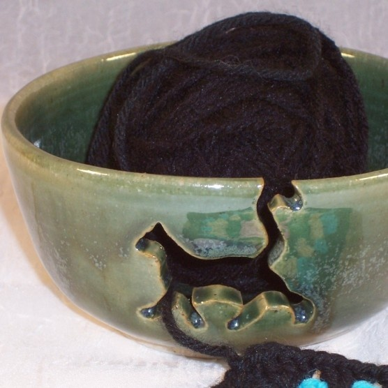$50  Handmade Cat Yarn bowl  If I knitted, this would be a necessity