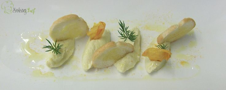 Creamed codfish with homemade bread and sweet garlic