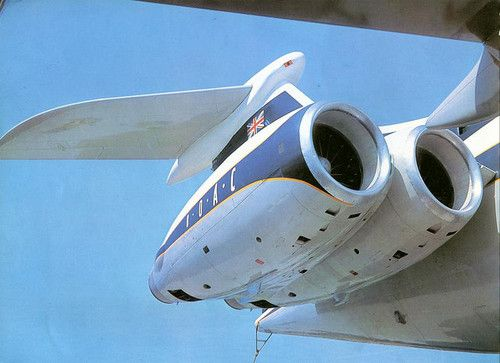 BOAC Vickers VC10 - An upclose view of the rear-mounted engine assembly on the starboard side.