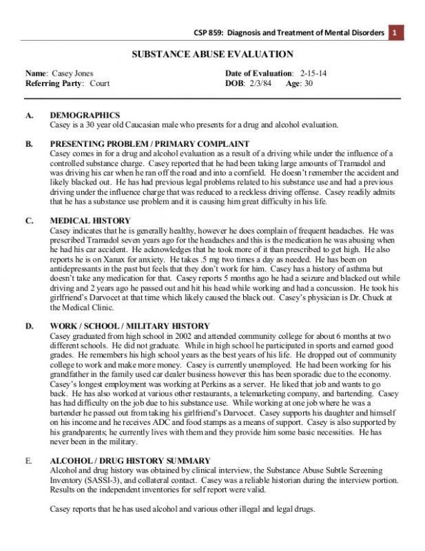 self evaluation paper sample