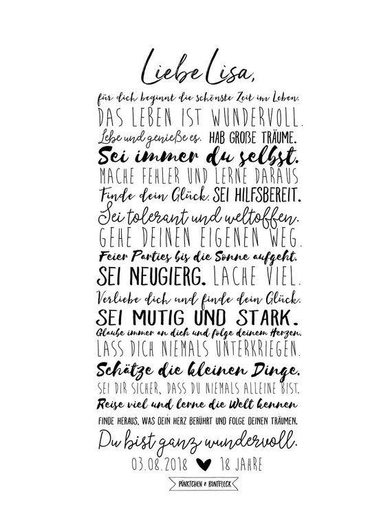 Art Print Your 18th Birthday Geburtstag Poster Geburtstag Liebe Posterdrucke