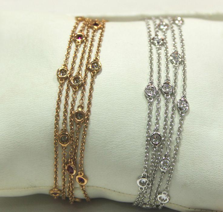 Bracciali Modello Tiffany In Oro Rosa e Diamanti Brown e in Oro Bianco e Diamanti Bianchi