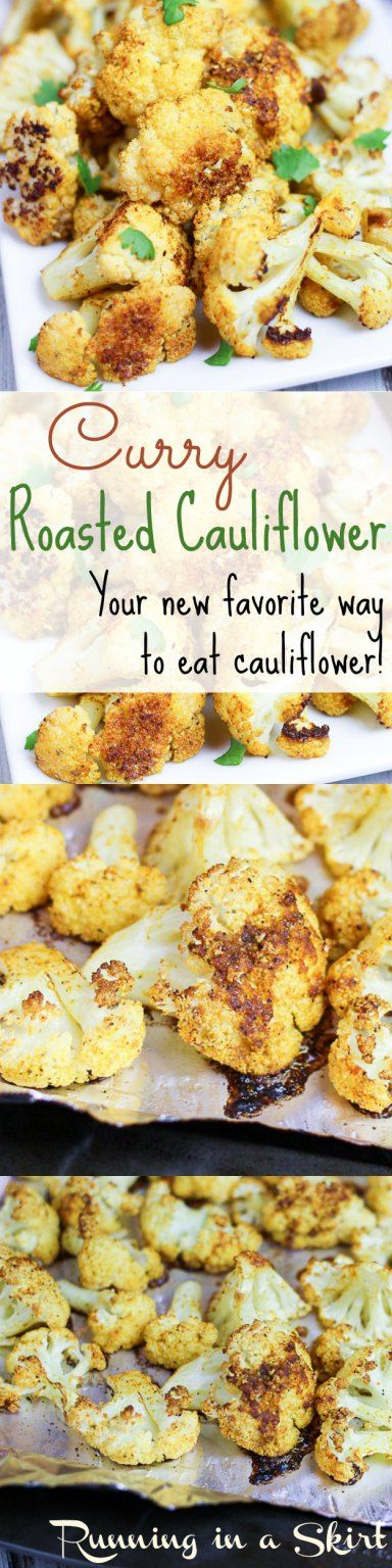 Addictive & Easy Curry Roasted Cauliflower Recipes (with lemon!)- The best way to eat cauliflower!   Running in a Skirt