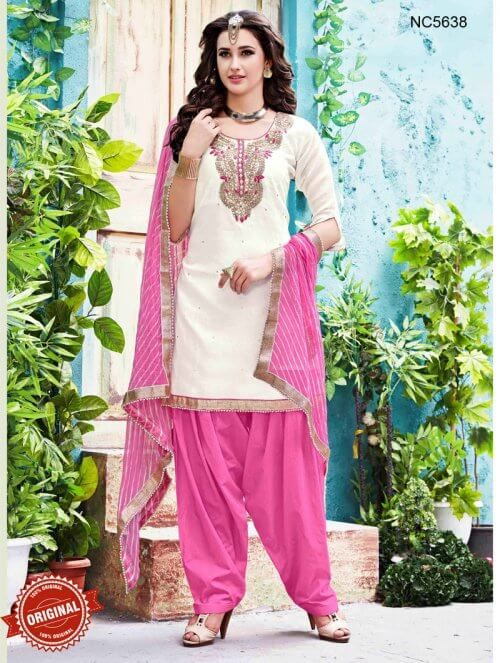 White & Pink Chanderi Silk Patiala Suit