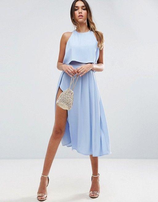 asos crop top wrap split midi dress asos