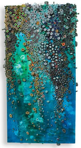 Has the look of encaustic, but is acrylic and paper. (reminds me of those assemblages, its not that? )