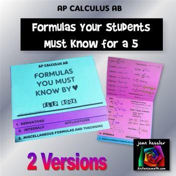 AP Calculus AB - the formulas they MUST KNOW by ♥ in an easy to make no mess Flip Book. Strive for a 5! Your students will love this!! This new resource is designed for AP Calculus AB and can be used for any Calculus class where students are required to memorize formulas.