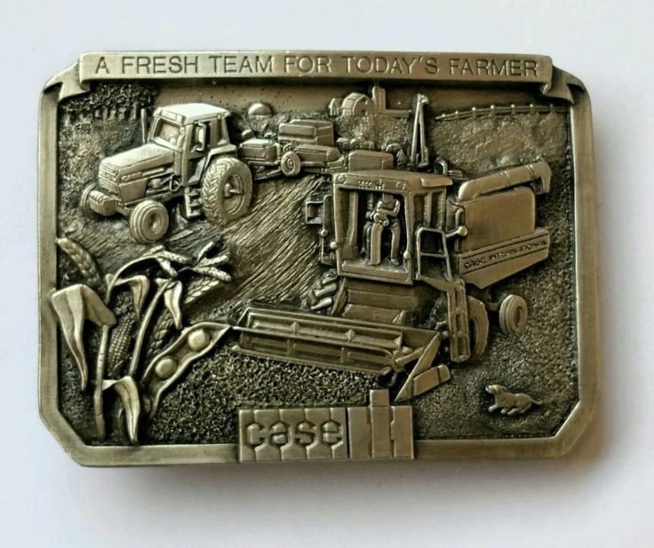 VINTAGE CASE TRACTOR BRASS PEWTER BELT BUCKLE 1986 LIMITED EDITION NEW IN BOX in Clothing, Shoes & Accessories | eBay
