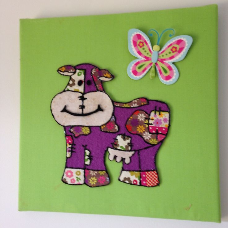 Canvas wall art #appliqué #cow
