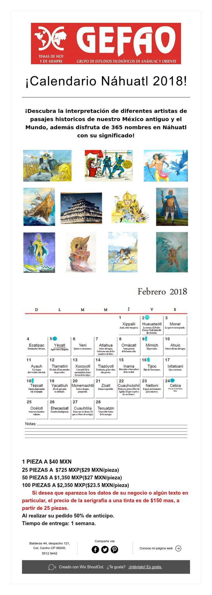 ¡Calendario Náhuatl 2018!