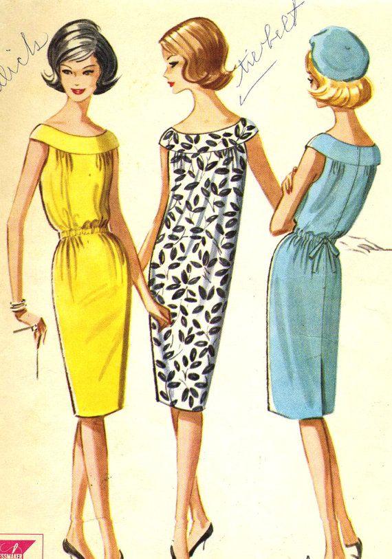 Vintage 1960s McCalls 6762 Misses Slim Shift Dress by RomasMaison