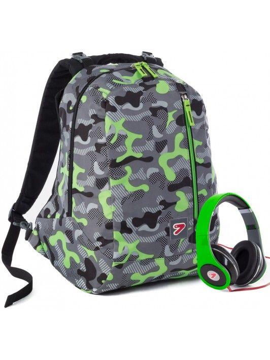 Zaini reversibili con cuffie Camouflage Green 2015 #zainiseven