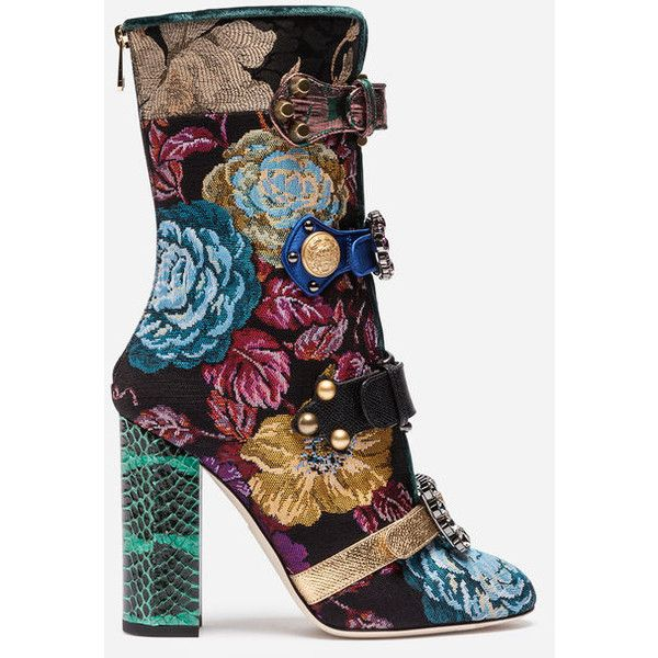 Dolce & Gabbana Jacquard Ankle Boots With Jewel Buckles ($2,590) ❤ liked on Polyvore featuring shoes, boots, ankle booties, multicolor, multi colored boots, buckle ankle booties, buckle bootie, multicolor boots and buckle boots
