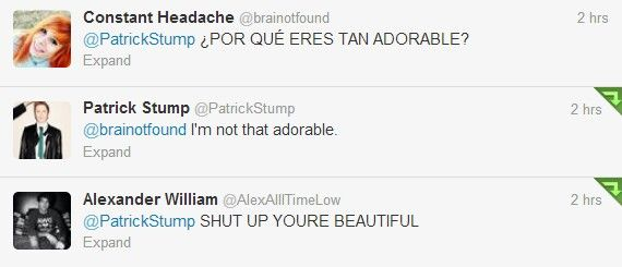 Alex Gaskarth thinks Patrick stump is beautiful. (Patrick stump tweets) <-- that's because he is beautiful!!!