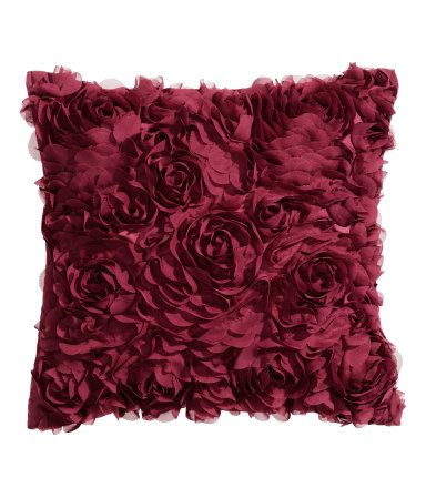 Satin Cushion Cover With Decorative Chiffon Flowers H Amp M