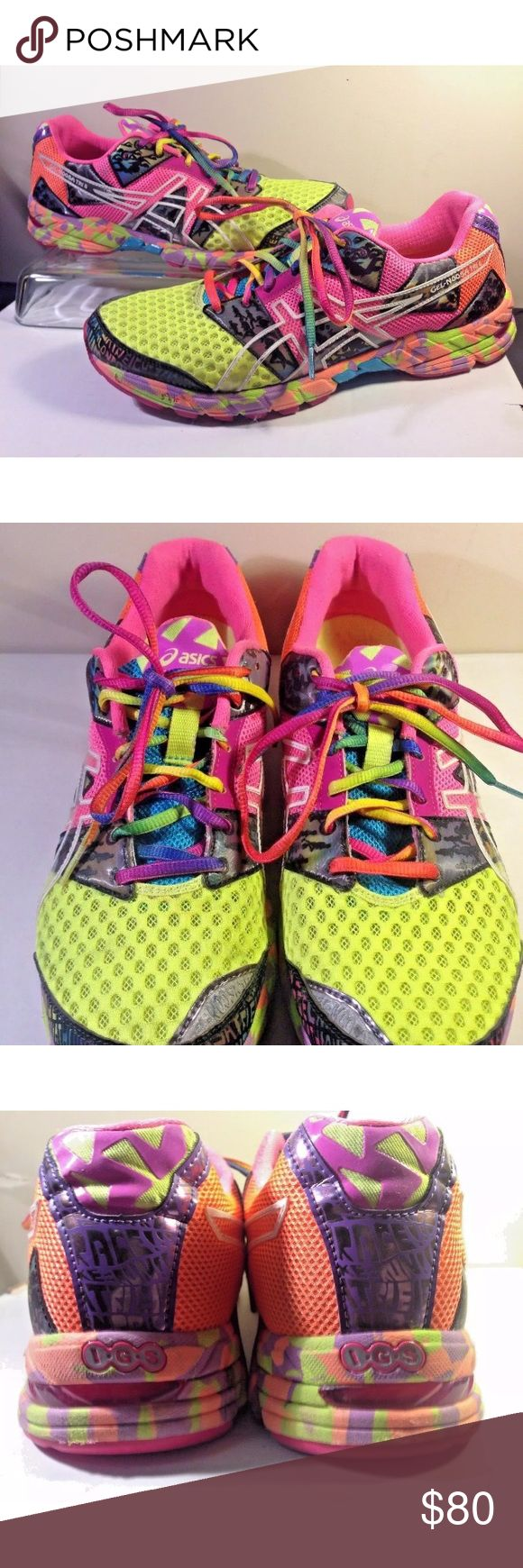 """ASICS Gel """"Noosa TRI 8"""" Neon Running Shoes T356N ASICS Gel """"Noosa TRI 8"""" Neon Green Multi-Color Women Running Shoes T356N Size 11 EUC  Excellent condition.  Worn once, but were not the right size for owner.  Pre-owned Dr. Scholl's active insoles included.  These cost $20 new.  Altogether, the shoes and the insoles originally cost ~$150.  These are really great running shoes!  No rips, holes, tears, or smells.  Size 11.  Feature upper mesh upper for breathability, lightweight and quick…"""