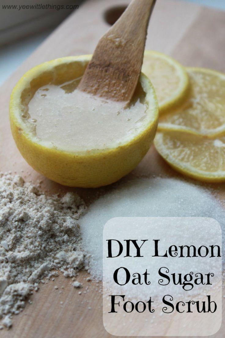 DIY Lemon Oat Sugar Foot Scrub