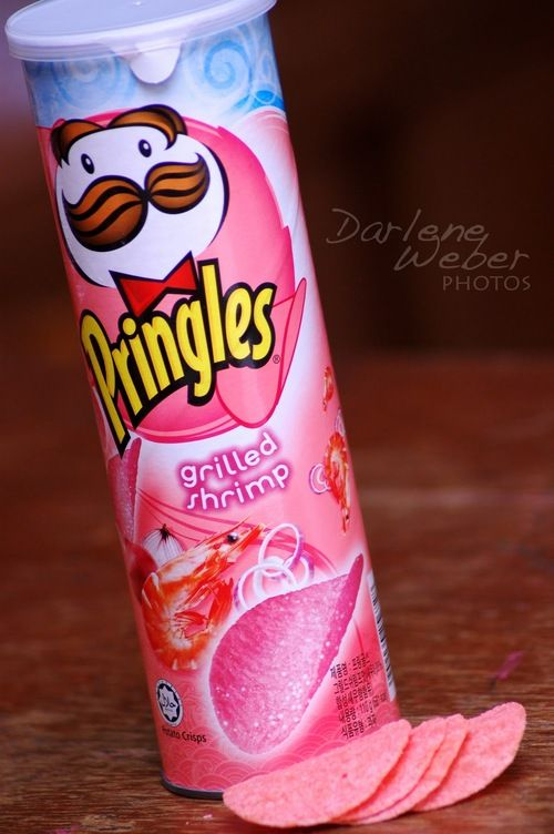 pink pringles!! Cool color,but I doubt the   American palate is ready for grilled shrimp flavor potato chips.