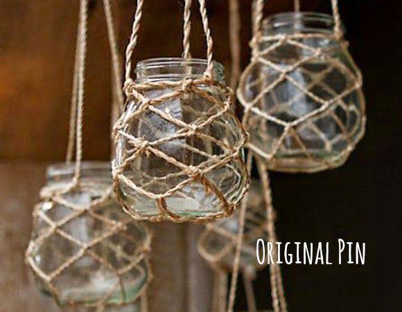 katiecrackernuts.blogspot.com || pinmyway macrame hanging candle hanger