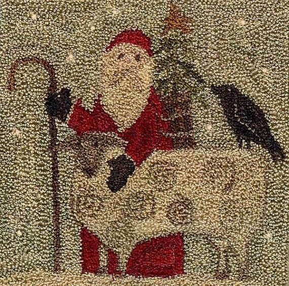 "Primitive Punchneedle Pattern - Christmas in The Country Santa with Sheep - 5 x 5"" Country Stitches"