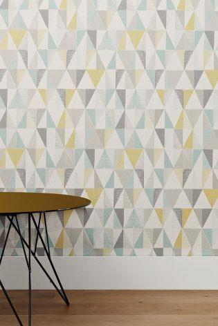 Don't be afraid to experiment with prints and patterns in the home - be brave and opt for this bright Textured Geo Wallpaper from Next.