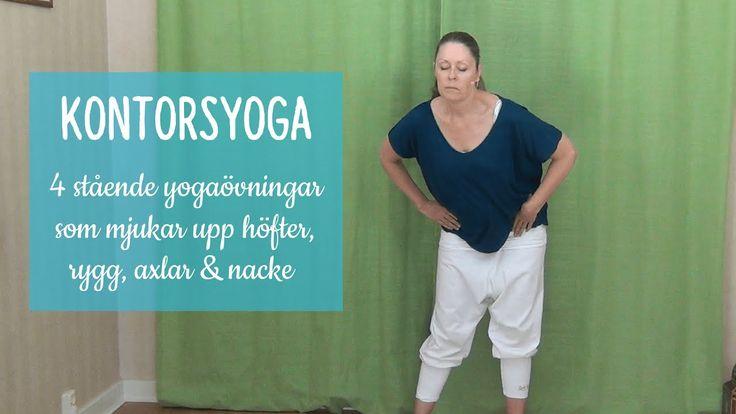 För dig som sitter mycket. Tex på jobbet! Här är några sköna stående yogaövningar som mjukar upp ryggen och axlarna!