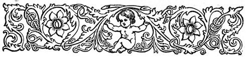 A cute little cherub sits among the vines and flowers in this great black and white vintage vorder.