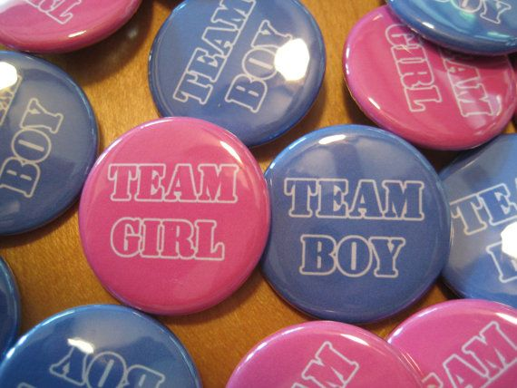 Gender Reveal Party  Party Favors Set of 20 1.25 inch Pin Back  Buttons Pink Blue Baby Shower Team Boy Team Girl