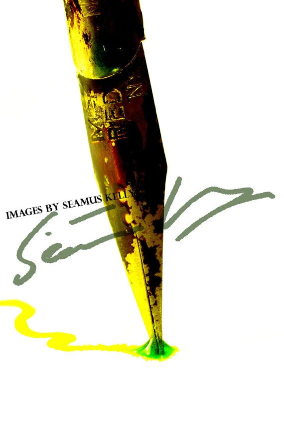 Vintage Dip Pen with bright ink  Instant by ImagesBySeamusKelly