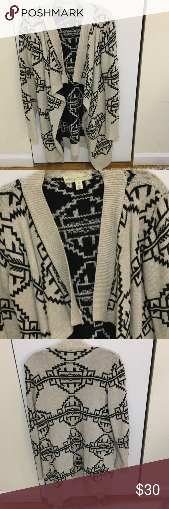Urban Outfitters Long Aztec Cardigan Staring at Stars (Urban Outfitters) cream and black long Aztec print cardigan- good condition Urban Outfitters Sweaters Cardigans