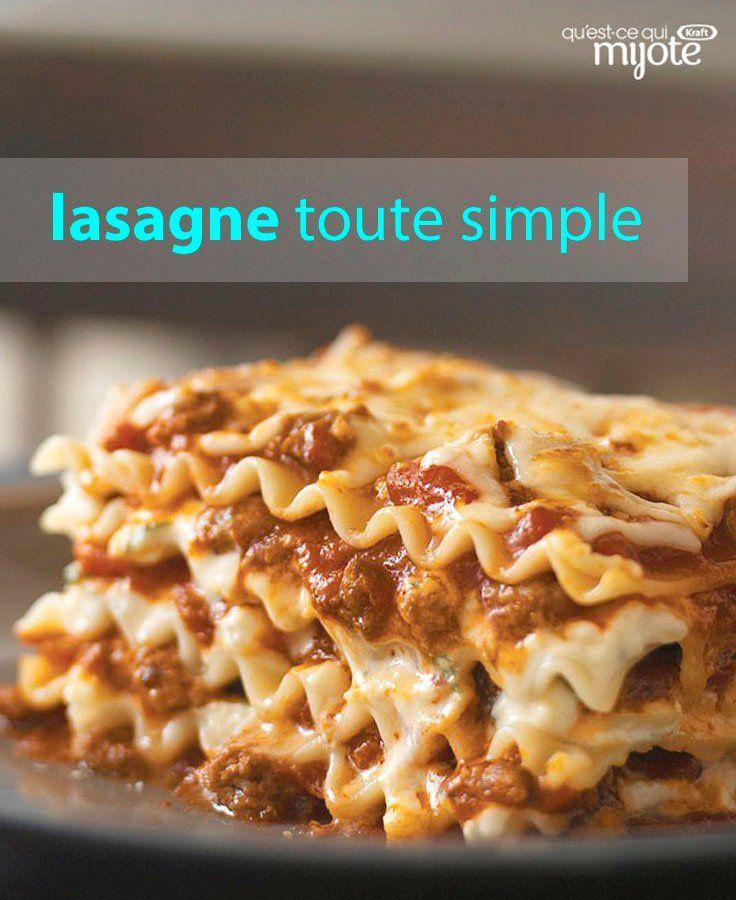 Notre recette de Lasagne tout simple est un plat familial préféré de tous ! Écourtez de 15 à 20 min le temps de préparation en utilisant des nouilles prêtes pour le four et de l'eau. Essayez cette recette sans tracas pour une lasagne savoureuse. Tapez ou cliquez sur la photo pour obtenir cette #recette.