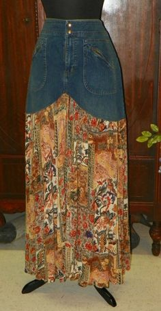 2 04 Ralph Lauren Jeans Skirt and Indian Print Cotton refashioned Long Skirt