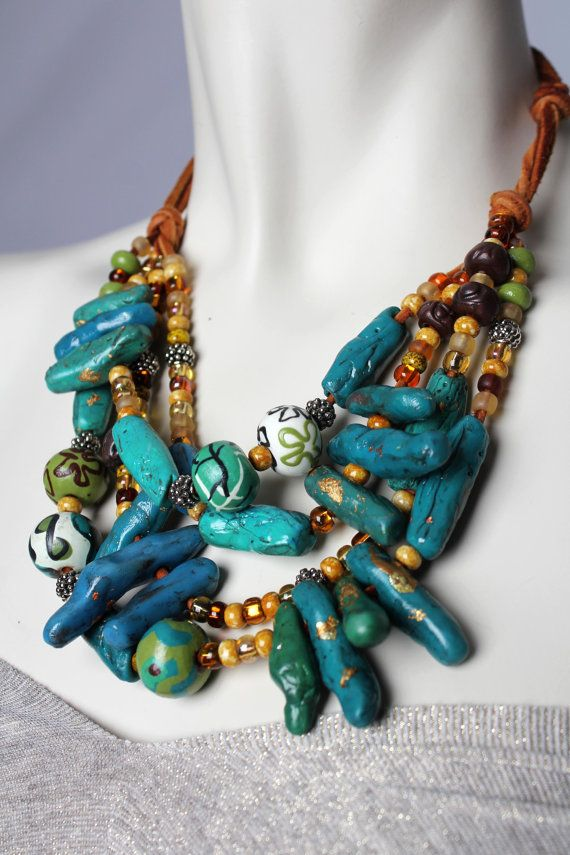Chunky Turquoise Statement Necklace / Coral and Teal Printed Beads / Multistrand Blue and Gold Jewellery via Etsy