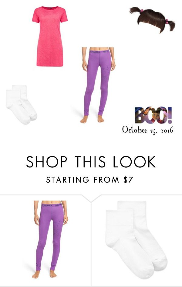 """""""Day 15 - October 15, 2016 - Boo [Monsters Inc.] (Halloween Costume Ideas)"""" by smmashley ❤ liked on Polyvore featuring Helly Hansen, Hue, Boohoo and Disney"""