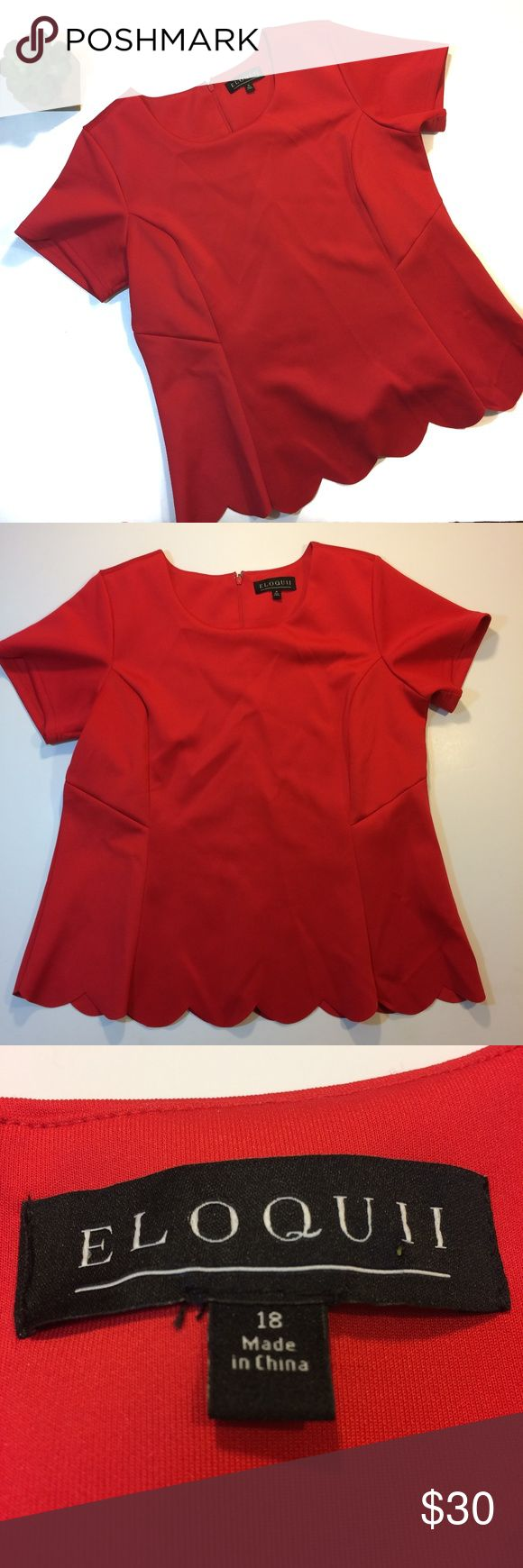"Eloquii Scalloped Peplum Top 18 Eloquii Scalloped Peplum Top. Size 18. Measurements: Armpit to armpit: 21""/Length: 27"". Vibrant red peplum top with scalloped hem and short sleeves. Like new condition with no flaws, stains, or holes. From a smoke and pet free home. Offers warmly welcomed. Eloquii Tops"