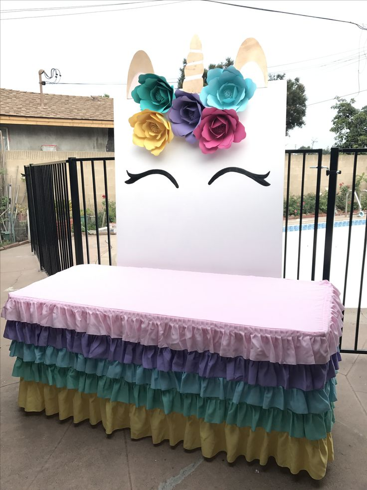 Unicorn party theme backdrop. Custom made by www.chicpinkpetals.com