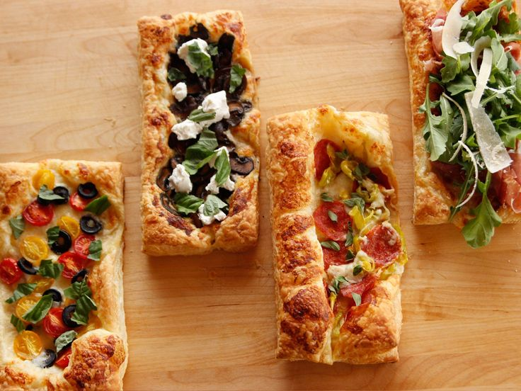 Puff Pastry Pizza recipe from Ree Drummond No recipe needed, really, but an awesome reminder for a delicious, easy, pretty snack or dinner