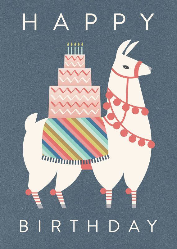 birthday llama card by hillarybird on Etsy