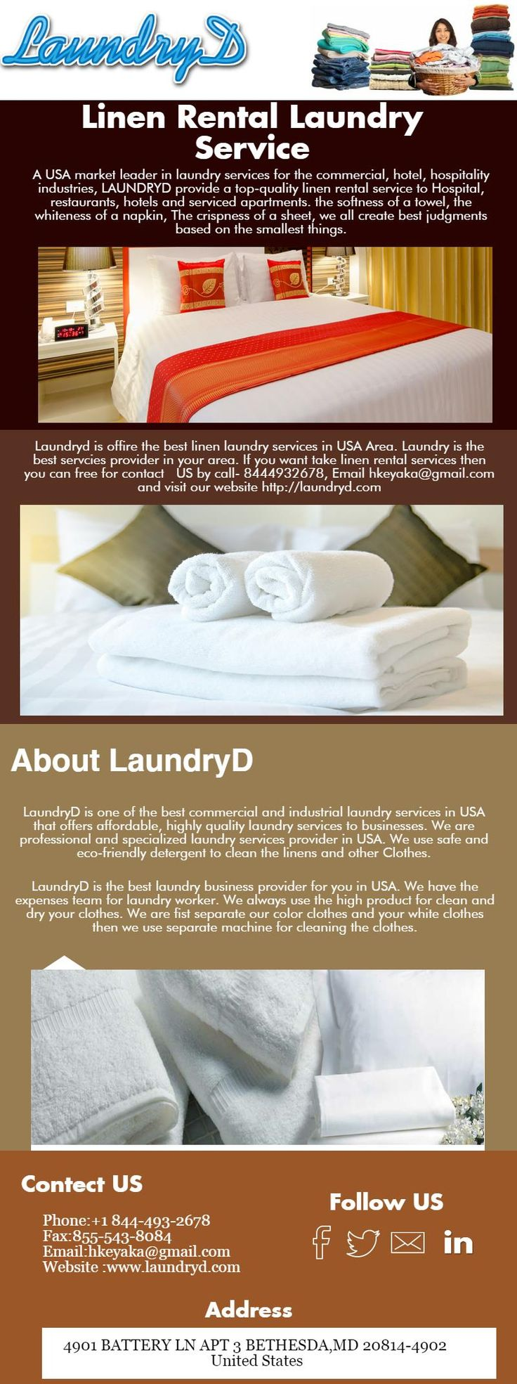Hotel Linen laundry services offering by laundryD in USA. Laundryd offering the laundry services for Hotel, restaurant, hospital, commercial and industrial laundry services.