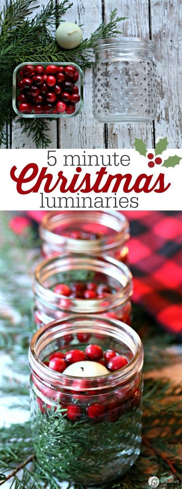 5 minute DIY Christmas luminaries   Quick and easy Christmas decorating. Whip up these floating candles with cranberries and cedar for a stunning table centerpiece.